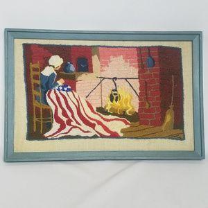 Vintage 1975 needlepoint framed Betsy Ross
